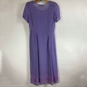 Vintage Dresses - Purple Shift Dress Layered Floral 90s Sz 14